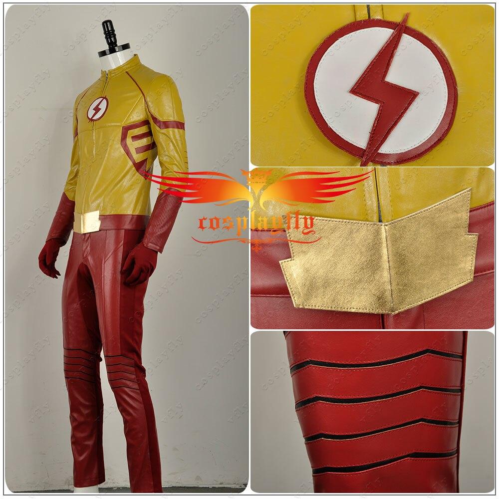 2016 film The Flash saison 3 Wally West II enfant Flash cuir vêtements Cosplay Costume tenue uniforme pour adulte avec masque W1130 - 3