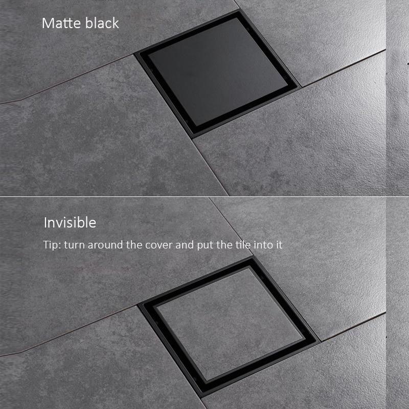 quyanre matte black square invisible bathroom floor drain waste grate 10x10cm shower drain black floor drain tile insert drain