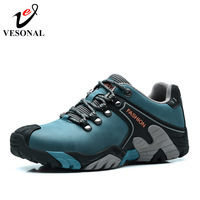 VESONAL Genuine Leather Winter Warm Fur Male Shoes For Men Fahion Casual Lovers Sneakers Wear Resisting