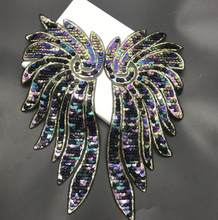 1Pair Large Angel Wings Sequin patches for clothes Sew On Appliques For Jacket Embroidery Decorative Supplies Crafts(China)