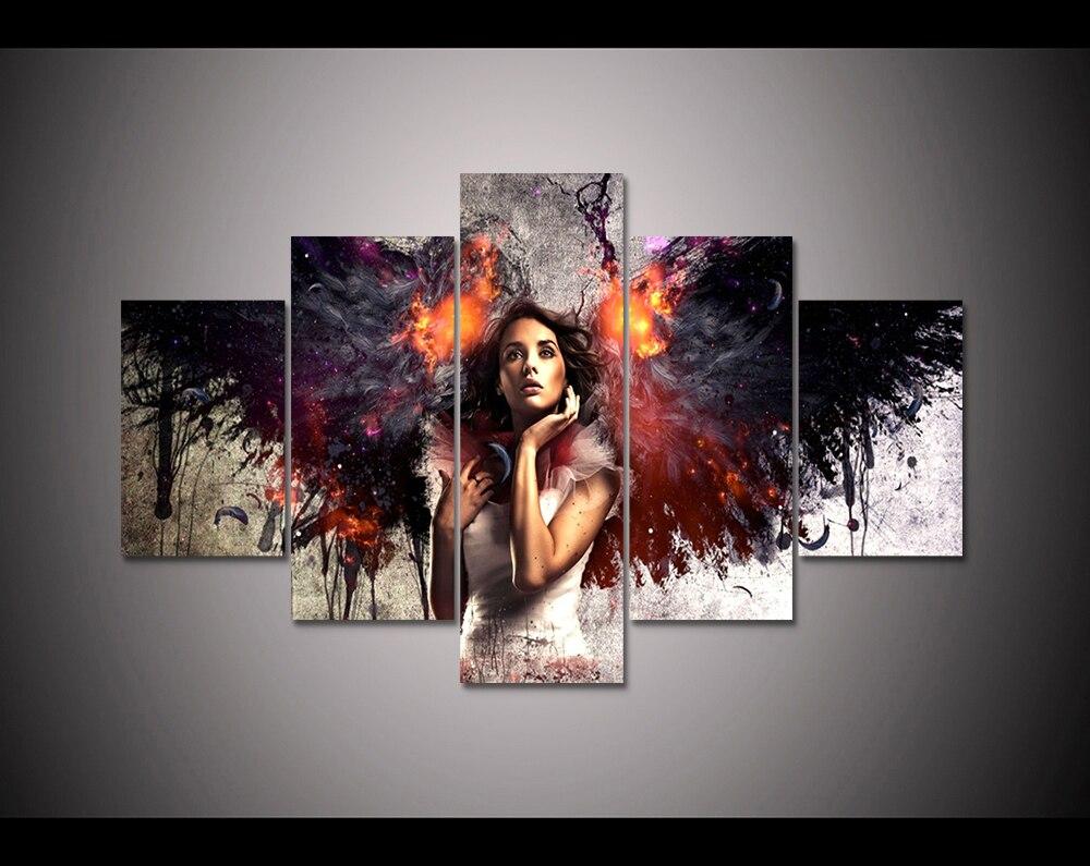Дропшиппинг 5 панель HD Печатный холст картина огненный Ангел Печать холст искусство домашнего декора стен искусство картина для гостиной ...