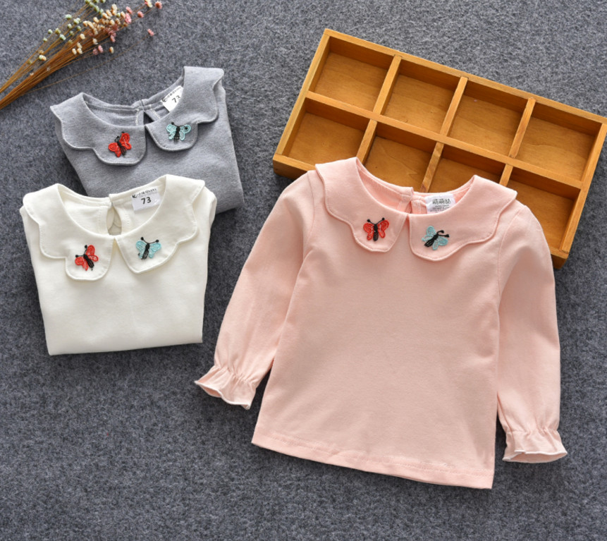 все цены на New Baby Girl Shirt Children Clothes Girls Shirt Tee Kids Long Sleeve Bottoming Tops Butterfly Peter pan Collar Baby Shirts
