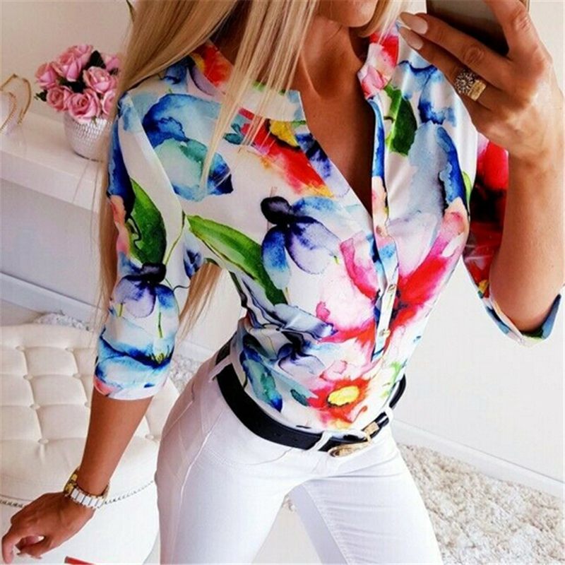 Summer Women Blouse Floral Shirt Loose Tops Office Lady Shirt Clothes Casual Button Ladies Blouses Tops Plus Size Women Shirts