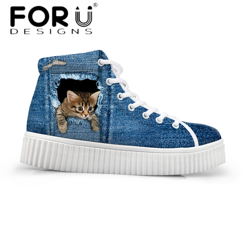 FORUDESIGNS Stilvolle Damen High Top Plateauschuhe, Cute Pet Cat Blue Denim Printed Schuhe für Damen, Casual Schnürschuhe Flats