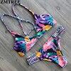 ZMTREE Brand 2017 Newest Bikinis Floral Printed Brazilian Bikini Set Sexy Bandage Swimwear Women Summer Beach