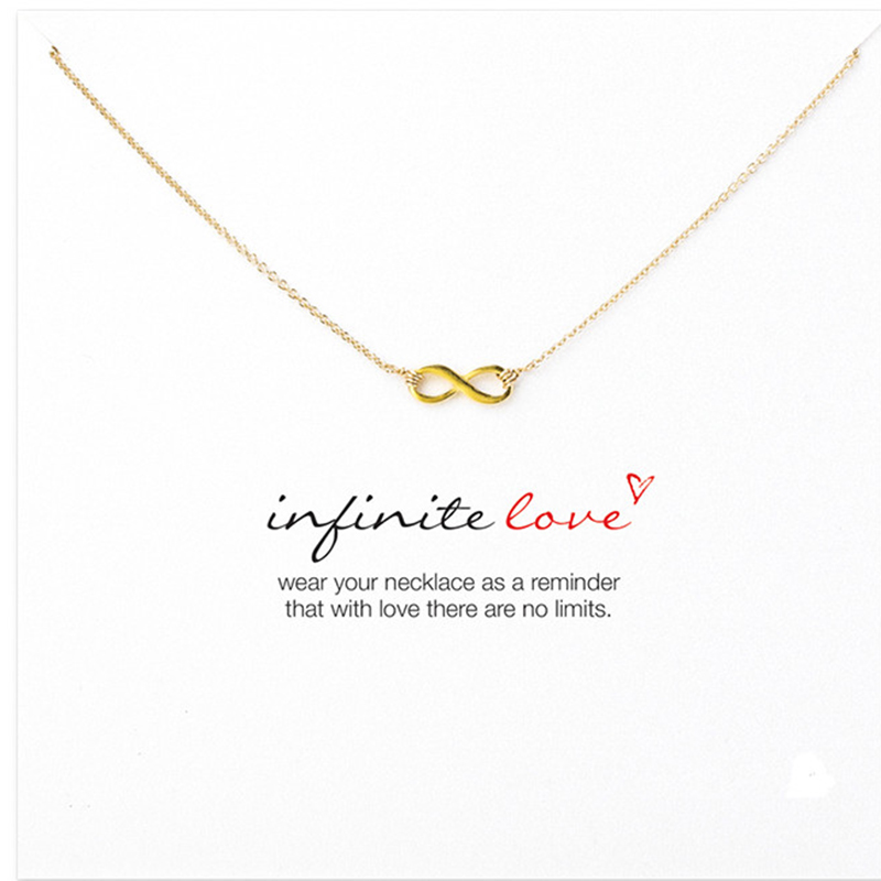 Sparkling Infinite Love Necklace 925 Silver Gold Color Short Necklace Clavicle Statement Necklace RS113