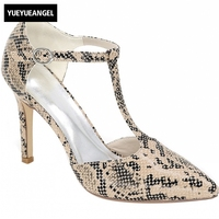 Snakeskin Pattern Sexy High Heels Shoes Women Luxury Brand Black Pointe T tied Buckle Pumps Office Party Shoes Femme Plus Size