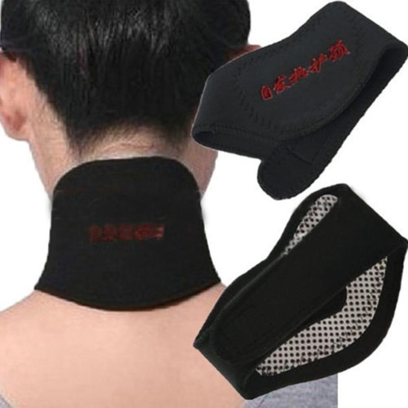 Negro suave Cuello Tirantes Soporta Calefacción Espontánea Dolor de Cabeza Cinturón de Turmalina Terapia Magnética Masajeador Productos Protector