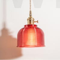 Nordic Vintage Crystal Burgundy Pressed Glass Pendant Light Home Dinning Room Hotel Restaurant Luxury Brass Suspension