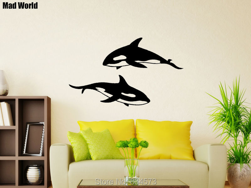 Mad World Cute Killer Whale Animal Fish Wall Art Stickers Wall Decal ...