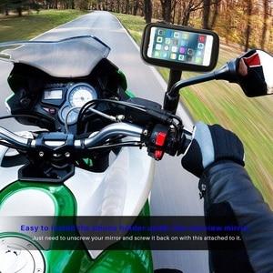 Image 5 - Untoom עמיד למים אופנוע אופנוע טלפון מחזיק טלפון סלולרי הר Bracket עבור סקוטר Rearview מירור Stand עבור iPhone Xiaomi