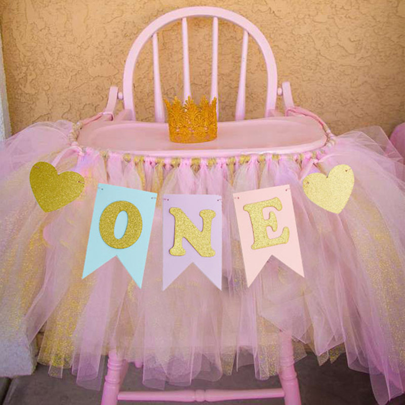 Non-woven Baby 1st Birthday Decor Bunting Supplies Chair Banner Hanging Bunting I AM ONE Celebrate Accessories