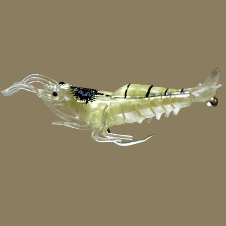 1 Pza cebo de gusano de camarón suave Isca Artificial luminoso señuelo de Pesca de Mar 1,3g/50mm Wobblers de un solo gancho cebo para gambas de silicona