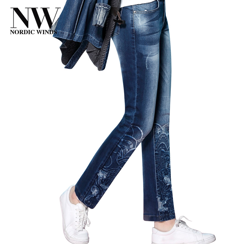 Ripped Jeans For Women Plus Size Stretch Jeans With Embroidery Pattern Thick Woman Casual Warm Trousers Winter Long Pant 2017new new female casual sexy rose denim jeans with embroidery ripped vintage pencil jeans for women cuffs long pants plus size 2xl