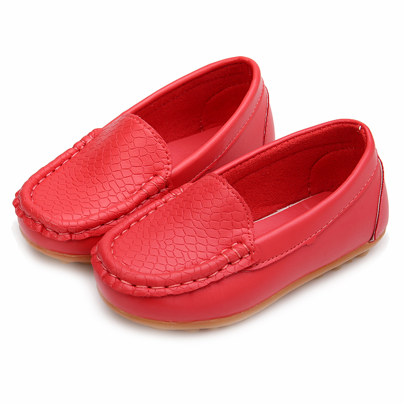 New Children Shoes Classic Fashion PU Shoes for Girls Boys Shoes Flat Casual Kids Shoes(Red)
