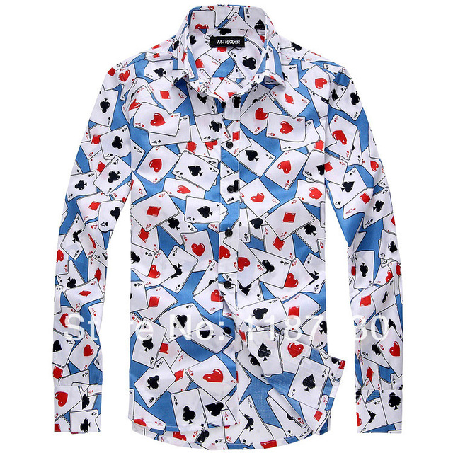 2014 New Men s England Style Playing Card Pattern Slim Fit Long Sleeve Shirt  Tops Free Shipping de79b279f