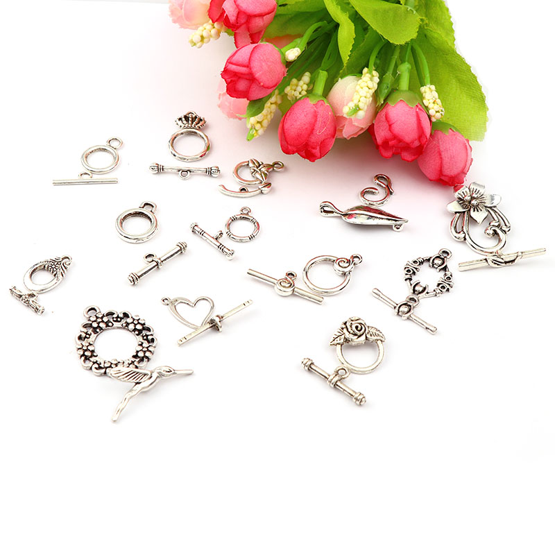 10 Sets Flower OT Clasps Connector DIY Jewelry Findings Antique Silver