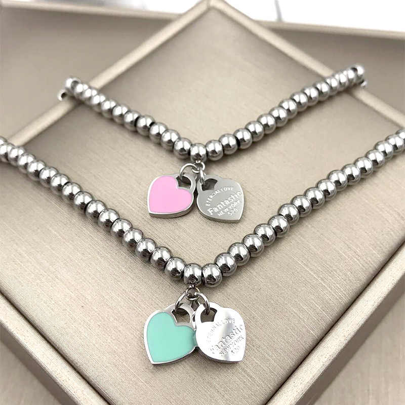 Martick 316L Stainless Steel Prayer Beads Elastic Rope Double Heart Pendant Charm Bracelets For Women Brand Fashion Jewelry B37