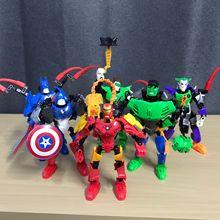 цена на Marvel DC Super Heroes Avengers Infinity War Iron Man Capital America Hulk Bat Model Building Blocks Toys For Children Legoings