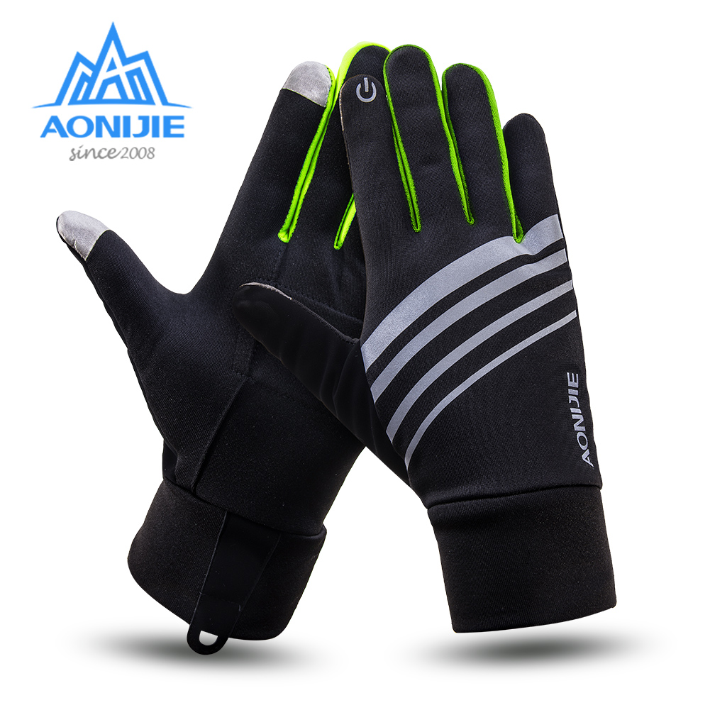AONIJIE Men Women Outdoor Sports Fleece Touch Screen Gloves Winter Gloves Running Cycling Hiking Windproof Waterproof Gloves