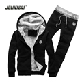 New Winter Hoodies Men Sweatshirt Sets Sportwear Fleece Men Tracksuit Set Hoody Jacket Cardigan+Sweatpants Casual Sweat Suits