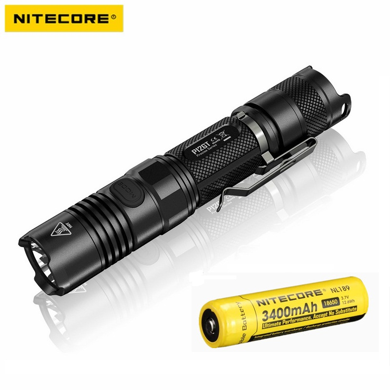 NITECORE P12GT LED Flashlight CREE XP-L HI V3 1000LM Beam Distance 320M Tactical torch with 18650 Battery for Self Defense nitecore p12gt cree xp l hi v3 1000 lumens led flashlight for gear military rechargeable led tactical flashlight torch