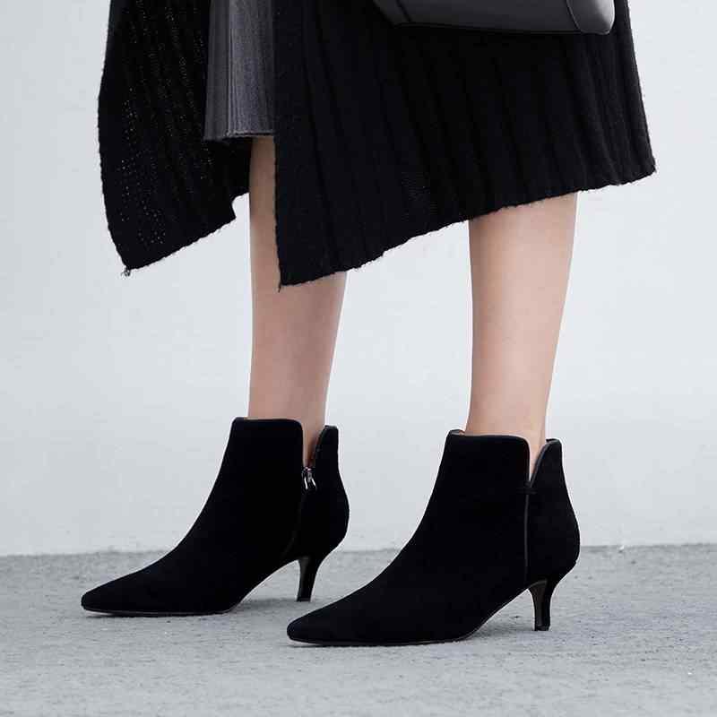 2019 süperstar sivri burun hakiki deri ofis bayan yüksek topuklu kadın yarım çizmeler pist klasikleri lüks kış ayakkabı L97