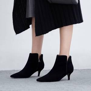 Image 4 - Superstar Botines de piel auténtica con punta en pico para mujer, botines de tacón alto, clásicos de pasarela, para invierno, L97, 2020