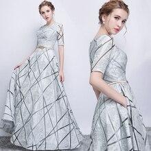 Lange grijze half sleeve sexy sequines dame meisje vrouwen prinses bruidsmeisje banket feestjurk jurk