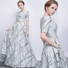 Long grey half sleeve sexy sequines lady girl women princess bridesmaid banquet party dress gown