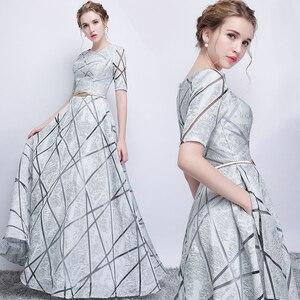 Image 1 - Vestido largo de fiesta para dama de honor, sexy, con lentejuelas, Media manga, color gris
