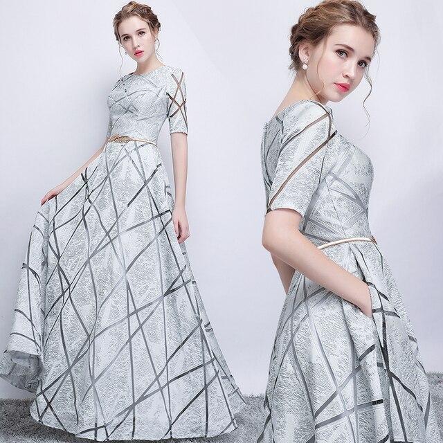 Vestido largo de fiesta para dama de honor, sexy, con lentejuelas, Media manga, color gris