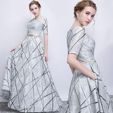 ארוך אפור חצי שרוול סקסי sequines ליידי ילדה נשים נסיכת שושבינה אירועים המפלגה שמלת שמלה
