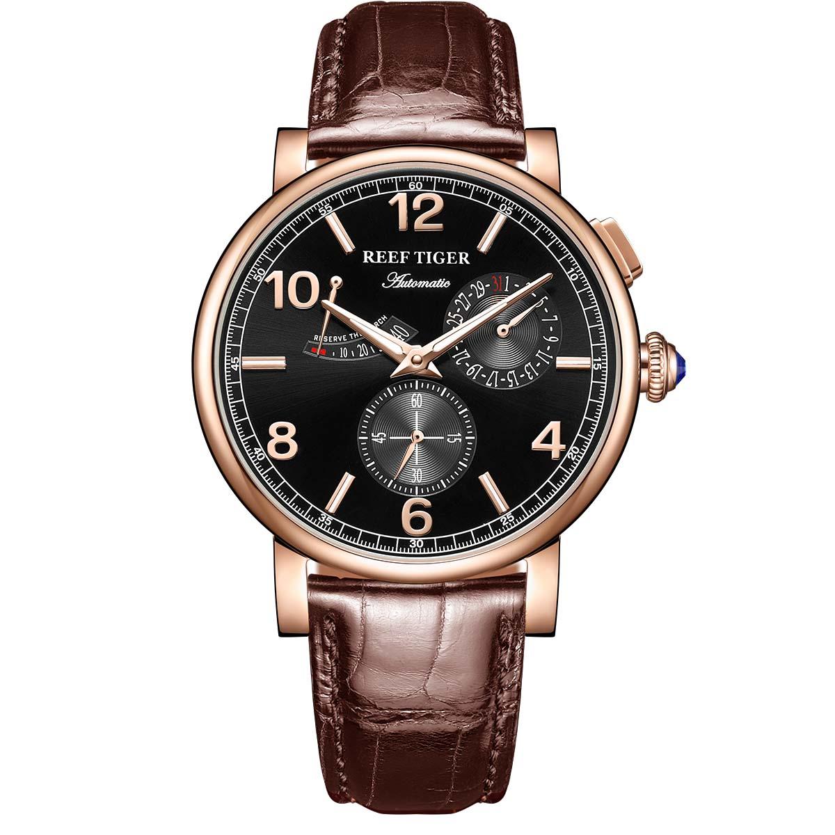 Saatler'ten Mekanik Saatler'de Reef Tigre/RT erkekler saatler üst marka lüks güç rezerv su geçirmez çok fonksiyonlu otomatik Reloj Mujer RGA1978 title=