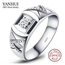 Tienes certificado de garantía! amantes 925 par anillo de plata 1 quilates CZ anillos de bodas de diamante para hombre y mujeres JZR014