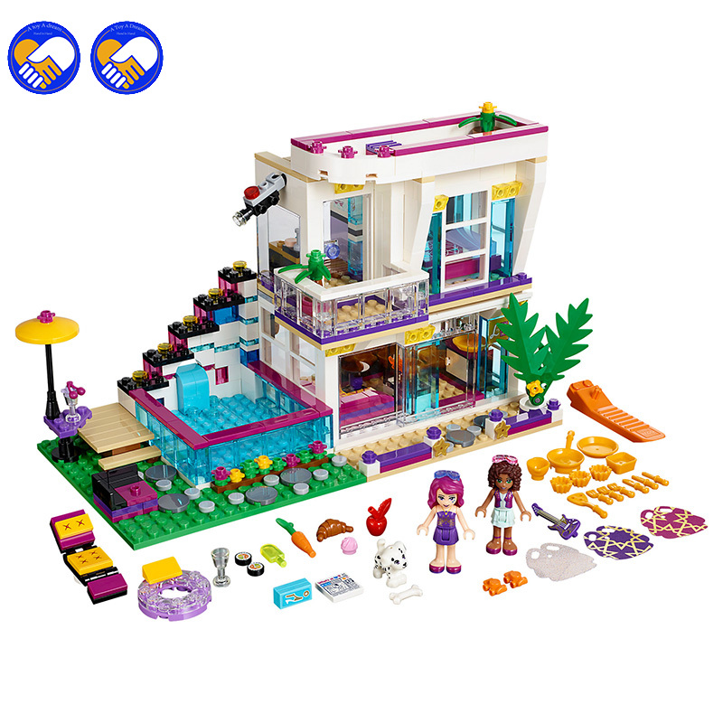 Compatible Lepining Friends 760pcs Pop Star House Constructor Model Kit Blocks Bricks Toys For Boys Girls Children Modeling