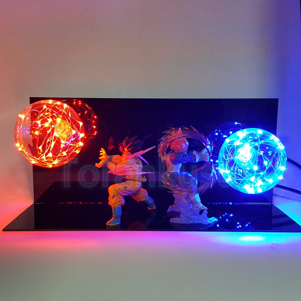 Dragon Ball Z Action Figure Son Goku vs Vegeta Super Saiyan Flash Ball DIY Display Toy Dragonball Goku DBZ DIY152 simulation mini golf course display toy set with golf club ball flag