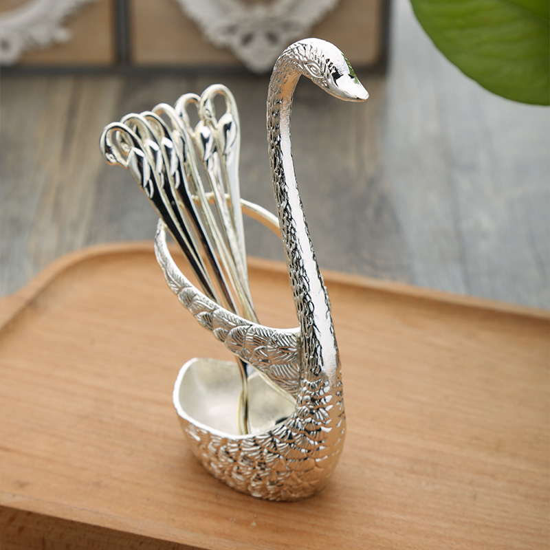 Swan colher base titular garfos de frutas