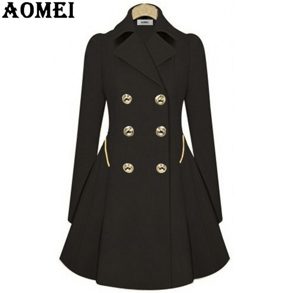 Женское весеннее Элегантное Длинное ветрозащитное пальто с двойной пуговицей, темно-синие однотонные топы с длинными рукавами, офисный женский зимний Тренч, верхняя одежда - Цвет: Черный