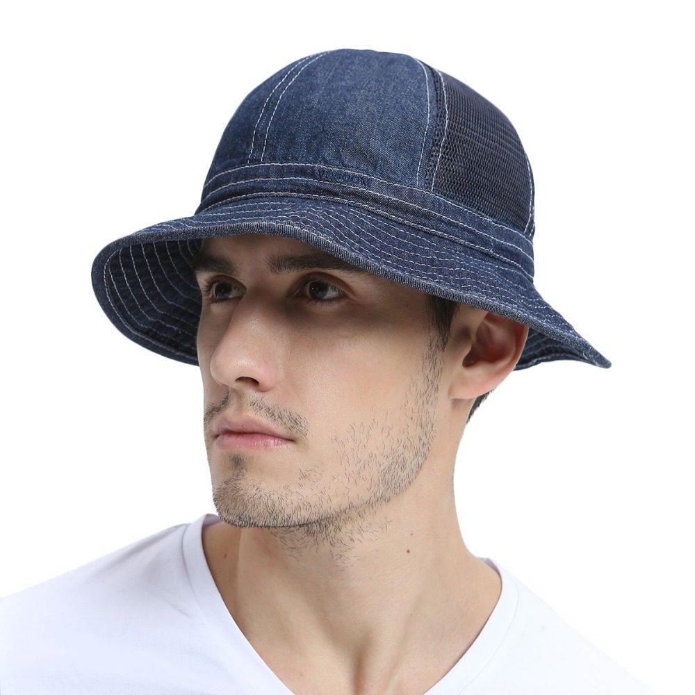 Summer Blue Panama Bucket Hat Men Boy Wide Brim Sun UV Protection Cap  Fisherman Hats Camouflage ab20f959b7e7