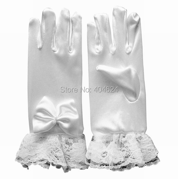 New Hot Wrist Lace Flower Kids Gloves With Finger Bow-knot White Flower Girls Gloves Children Princess Costume Accessories