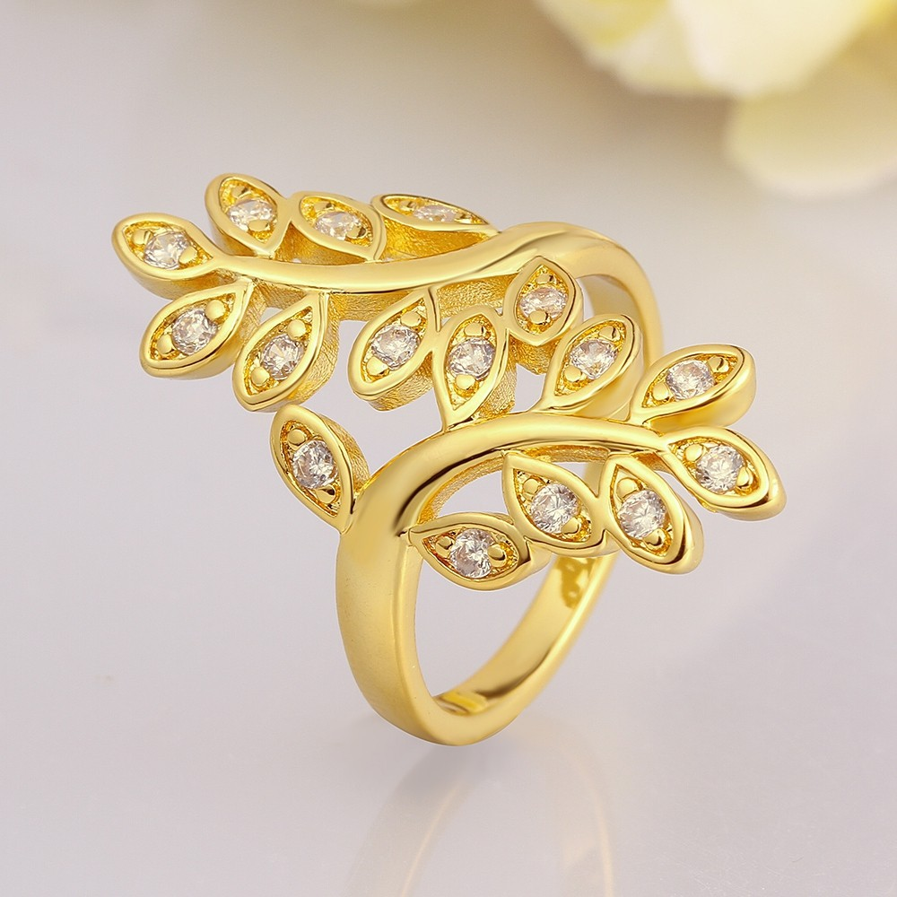 Fashion Womens Jewellery 18K Gold Plated Rings Cubic Zirconia Midi ...