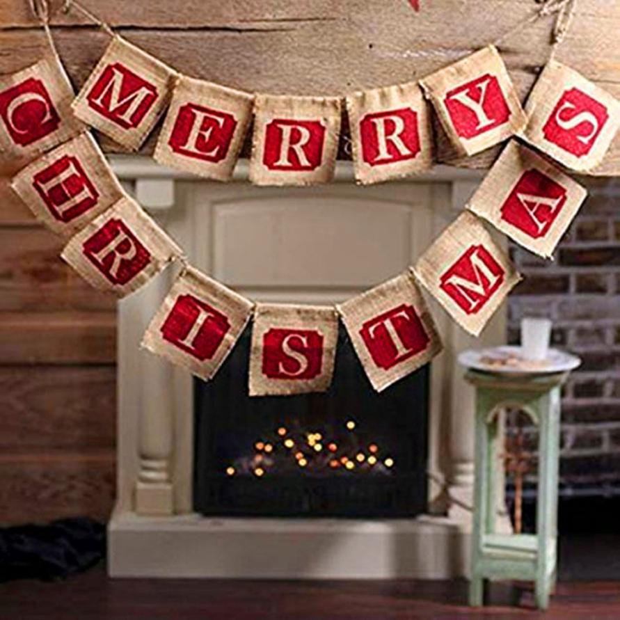 1213cm hessian burlap merry christmas bunting sign rustic wedding party banner kerst decoratie christmas decorations for home - Burlap Christmas Decorations For Sale