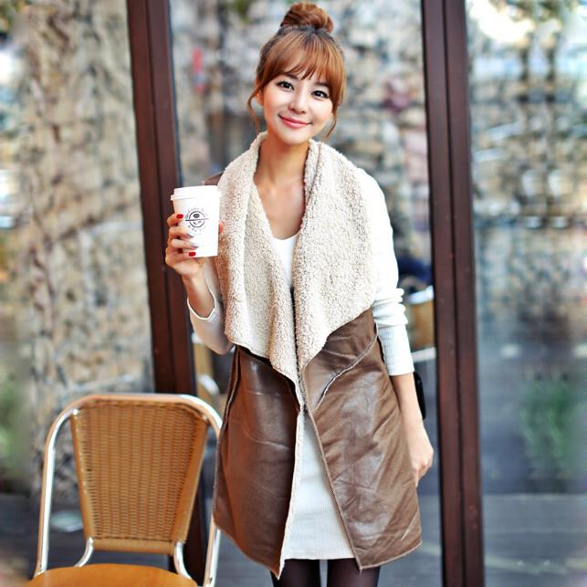 Tengo Autumn and Spring Slim Vest Women Brown Leather Vest Jacket Woman Imitation Ladies ...