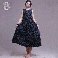 NORTHTRIBE 브랜드 여성 여름 드레스 민소매 코튼 린넨 느슨한 긴 드레스 2018 새로운 꽃 민족 레트로 드레스 중국