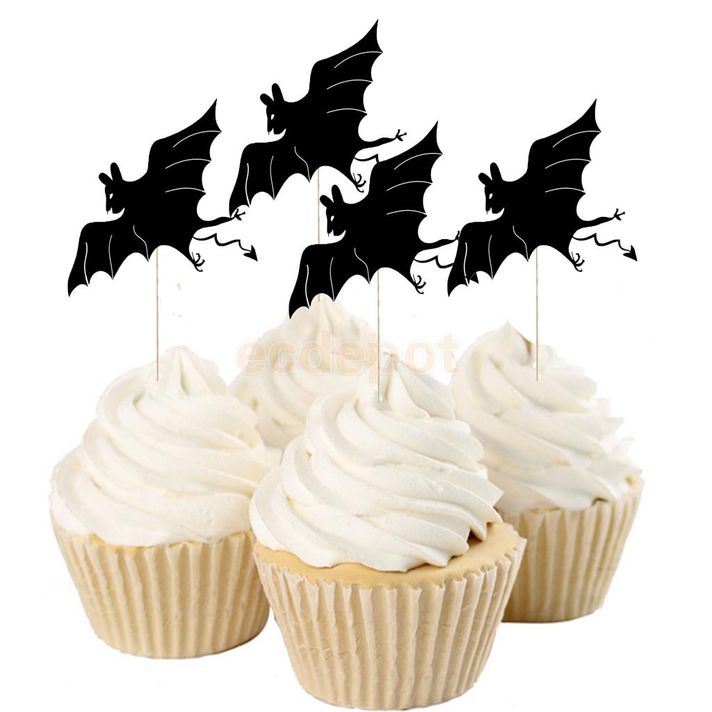 20pcs Funny Halloween Cupcake Picks Cake Toppers for Hallowmas Party Cake Decoration Black