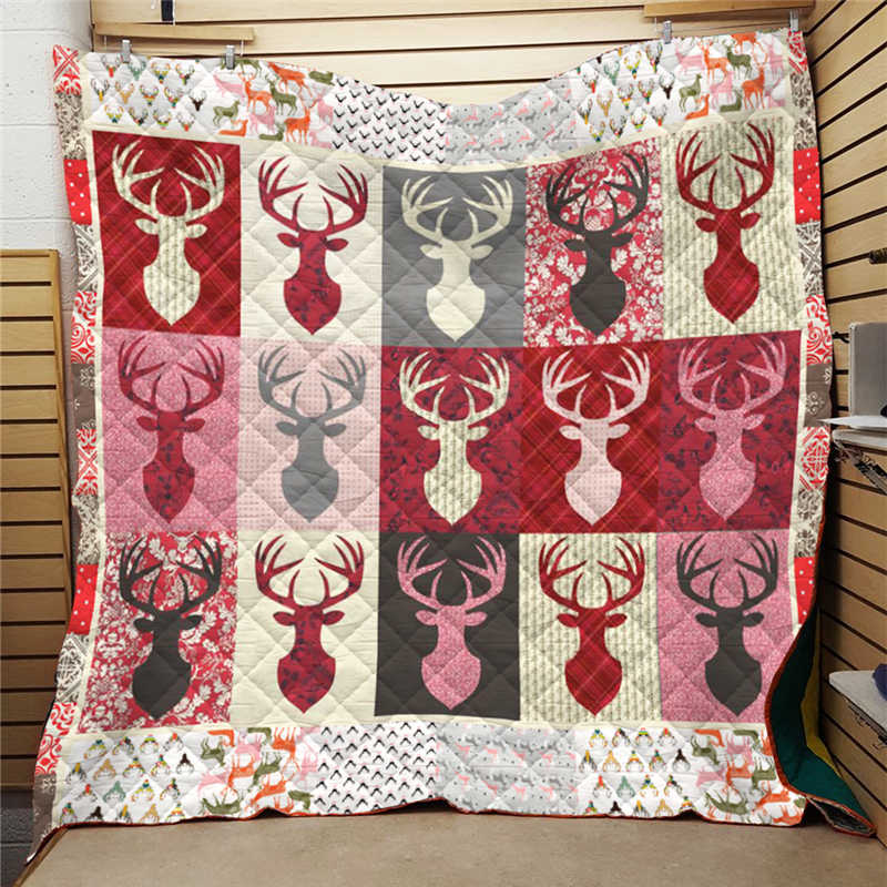 Summer 3D Printed Hunting Deer Quilt Blanket For Kids Adult Bedding Throw Soft Warm Office Thin Blanket Cotton Quilt King Size