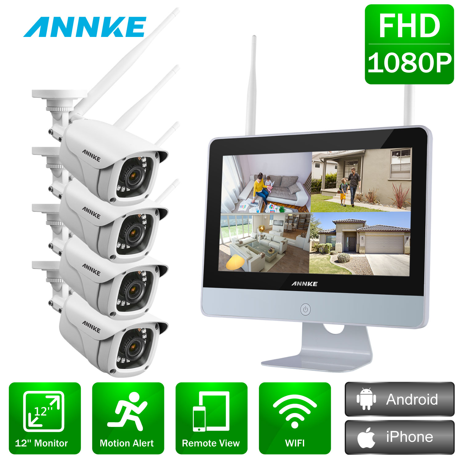 ANNKE 4CH 1080P FHD Wireless Video Security System 12inch LCD Screen NVR 4PCS 2MP Bullet IP Camera Outdoor CCTV Surveillance Kit