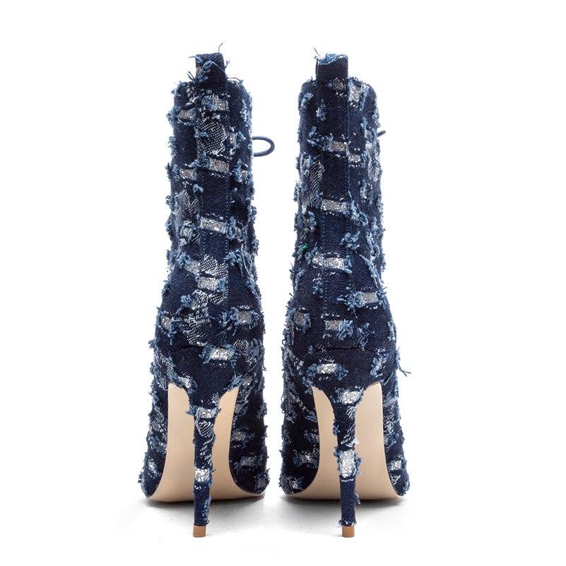 Mujer Para Cordones Zapatos Primavera Baile Punta Botines Toe Graduación Boda Altos Fiesta Peep Azul Con Otoño De Tacones BAq0WqYnS