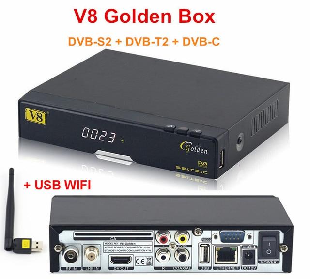 Genuine Full HD 1080 P V8 Dourado DVB-S2/T2/C HD poder Vu Receptor de Satélite de Apoio IPTV Youtube + 1 pc USB WIFI